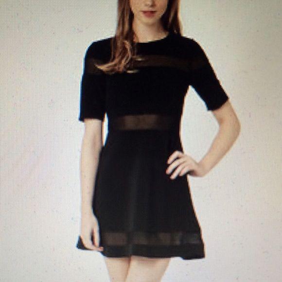 Topshop Black Mesh Skater Dress Black Mesh Stripe Skater Dress From