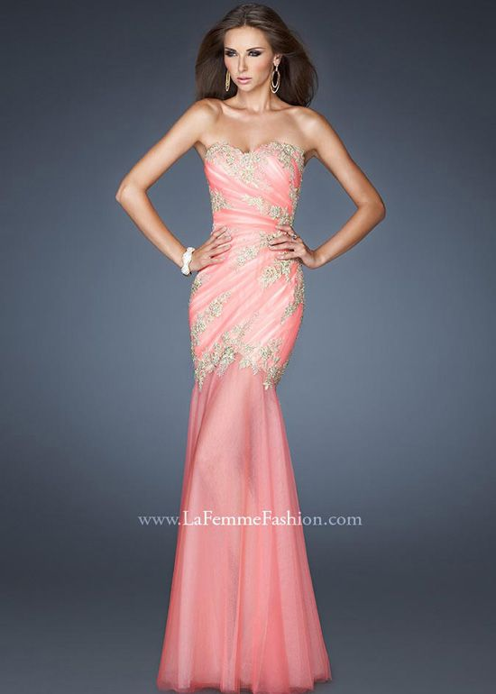 Lovely Lace Beaded Strapless Mermaid Gown in Coral and Peach - La ...