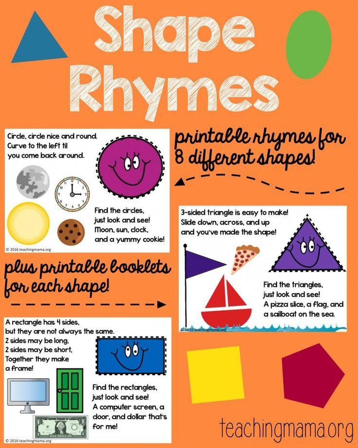 Shape Rhymes Printables Preschool Shapes Pinterest Preschool
