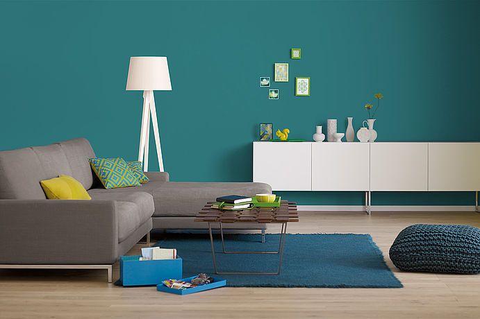 Innenfarbe in Grün-Blau, Türkis streichen Alpina Farbrezepte Petrol - wohnzimmer ideen petrol