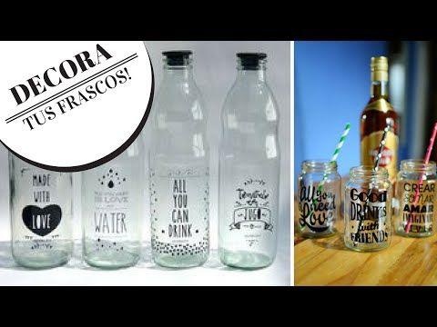 Botellas grabadas con pasta de dientes / Faux etching on glass - YouTube
