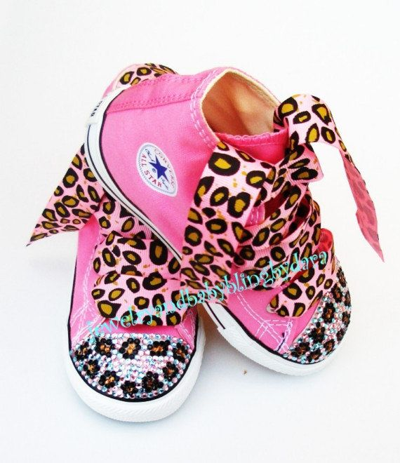 16b36ad218c1 Baby Bling Infant Toddler BLUE LEOPARD Crystal Bling Chuck Taylor Pink  Hi-Top Sneakers Shoes