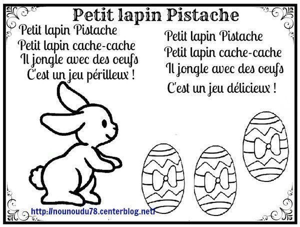 Comptine petit lapin pistache paques coloriage paques - Coloriage paques maternelle ...
