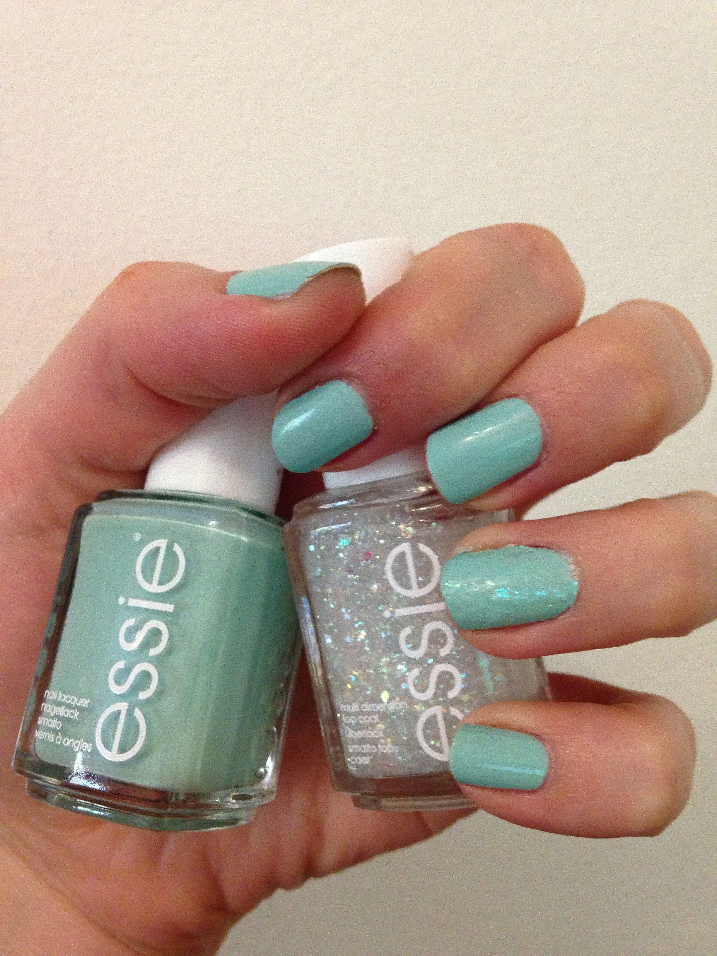 Essie, mint candy apple and sparkle on top - wedding toes ...