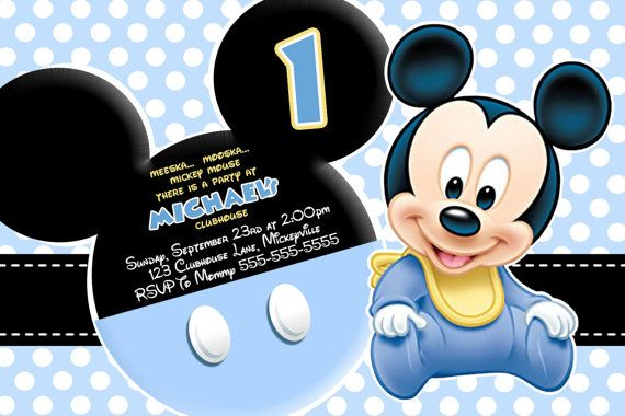 baby+mickey+birthday+party Baby Mickey Mouse Invitation - Blue - mickey mouse invitation template