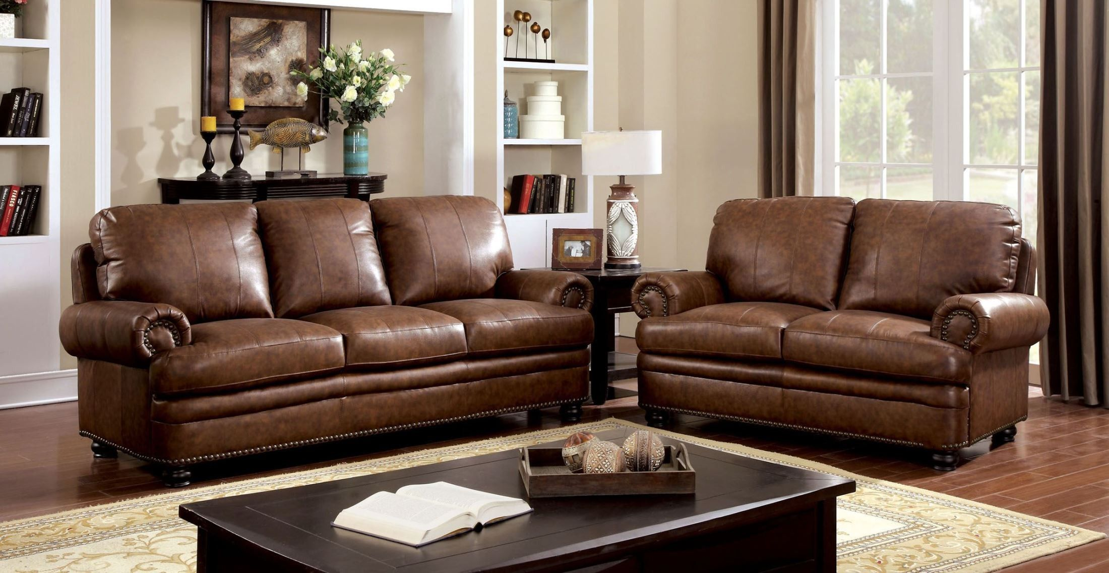 3 PC Modern Contemporary Gold Leather Sofa Loveseat Chair Living