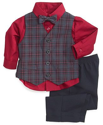 Boys Gray Plaid Vest Set 3 Pieces Vest Shirt and Pants Set