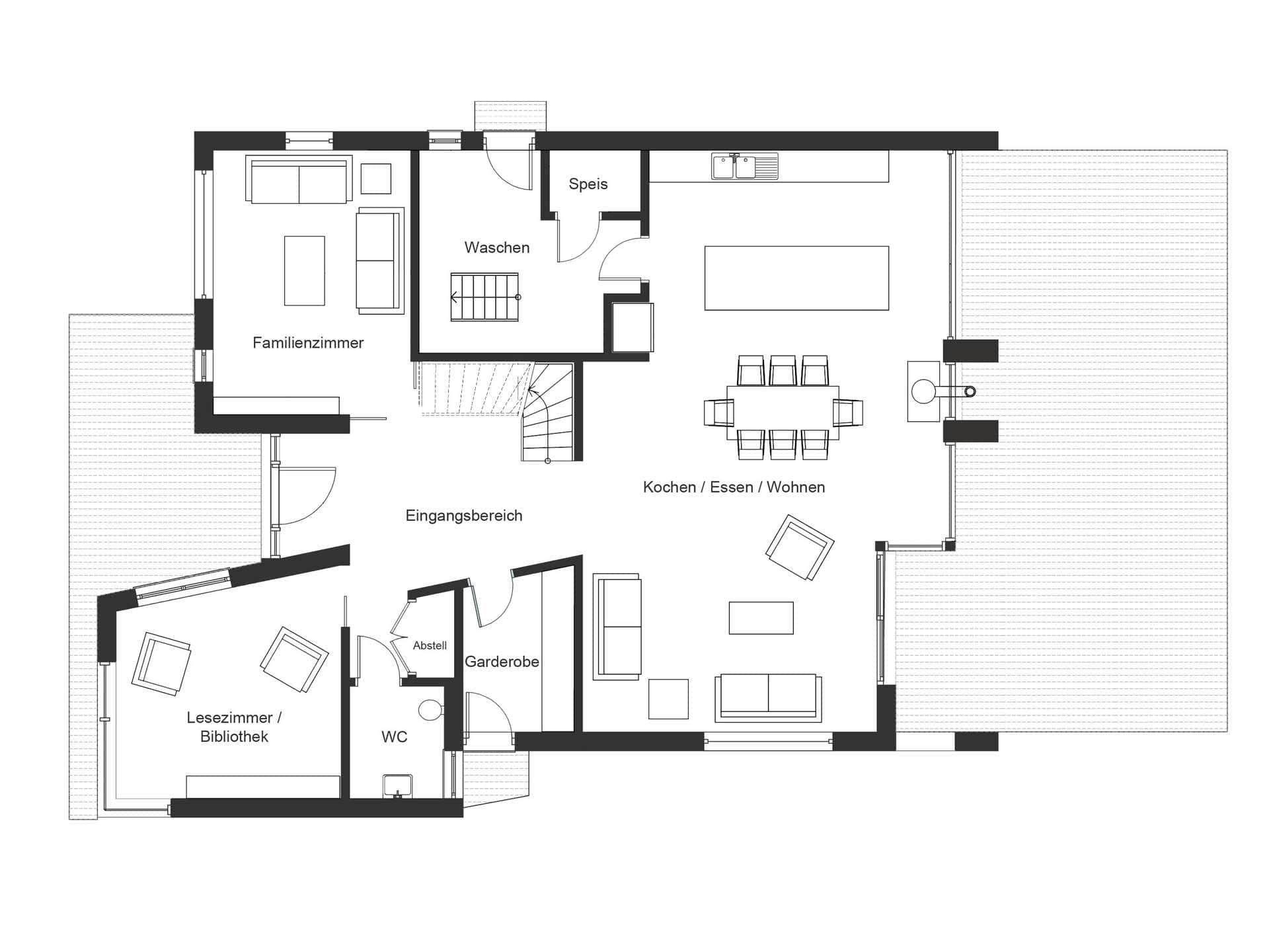 Bauhaus jackson grundriss eg von baufritz haus pl ne for Bauhaus einfamilienhaus grundriss