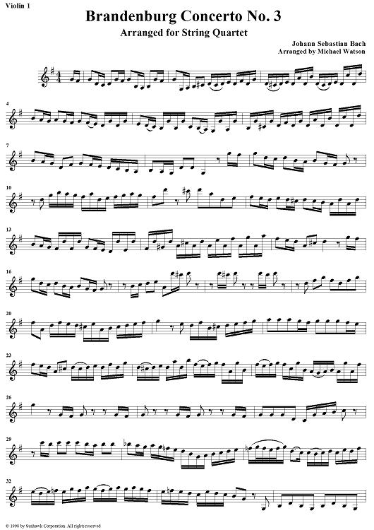 sheet music violin | ... No. 3 in G Major - Violin 1 Sheet Music by Johann Sebastian Bach
