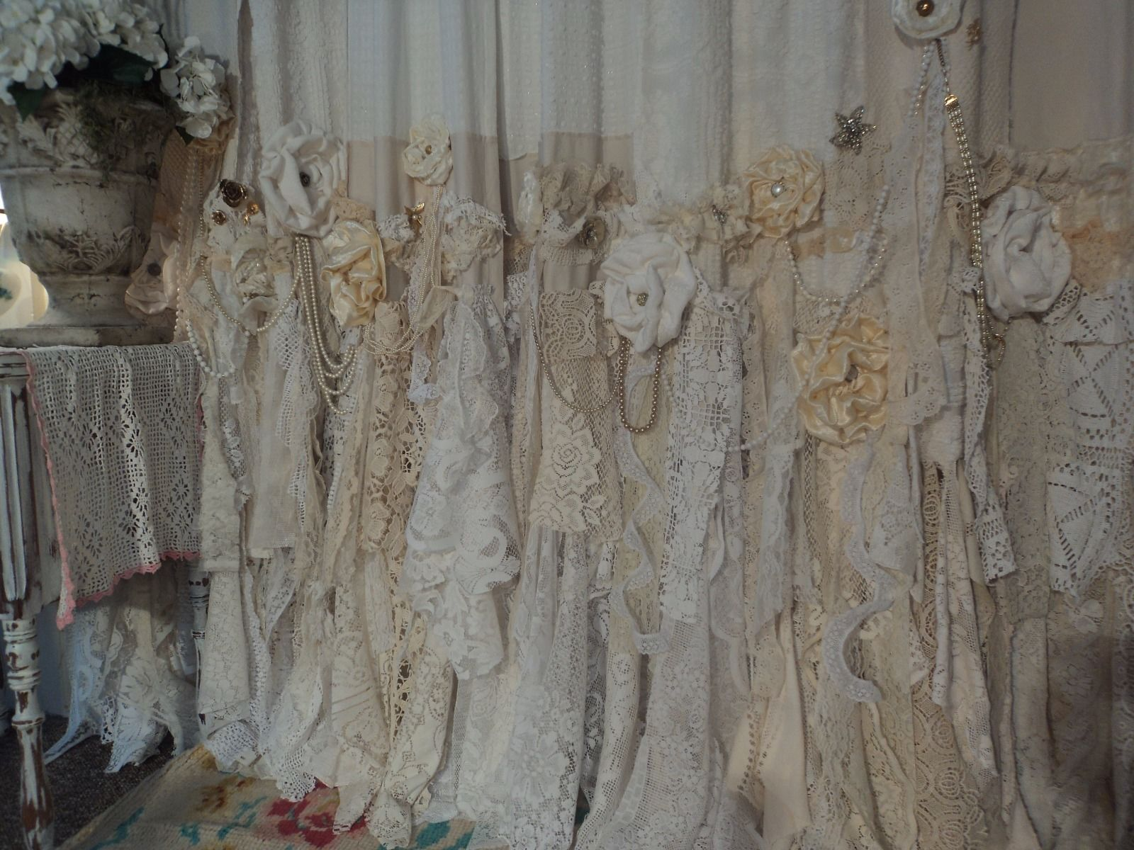 Handmade Vintage Lace Curtains 2 Curtain Panels 57x100 Boho Gypsy Jewelry Tmyers
