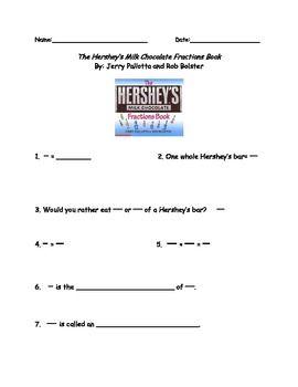 the hersheys milk chocolate fractions book worksheet  classroom  the hersheys milk chocolate fractions book worksheet