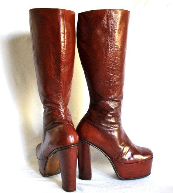 e57c06850f3 Vintage 70 s PLATFORM Boots Darl Red Leather Rockstar 6US