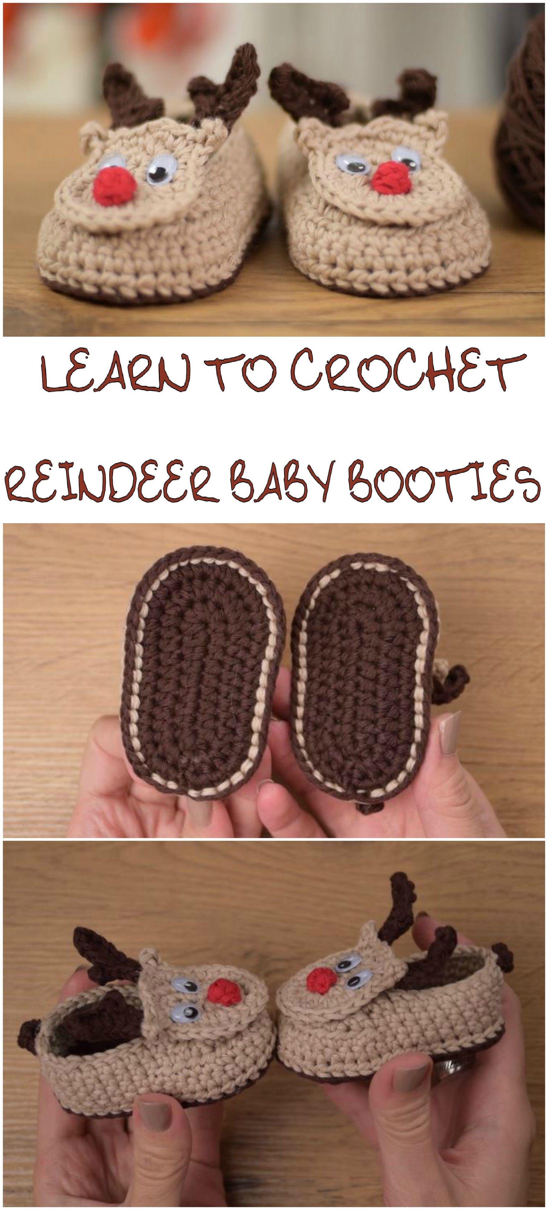 Crocher Reindeer Baby Booties | CrochetHolic - HilariaFina ...