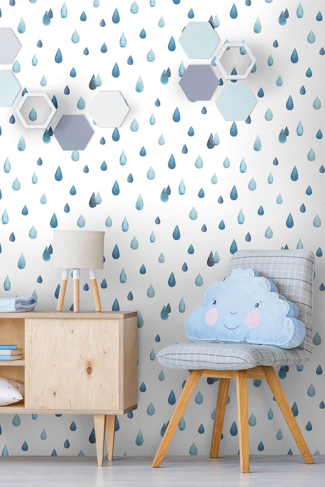 Raindrops Peel And Stick Wallpaper Girls Room Wallpaper Peel And Stick Wallpaper Pink Girl Room
