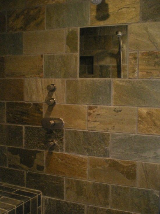 Tile shower with built in mirror for shaving   Beach House ...