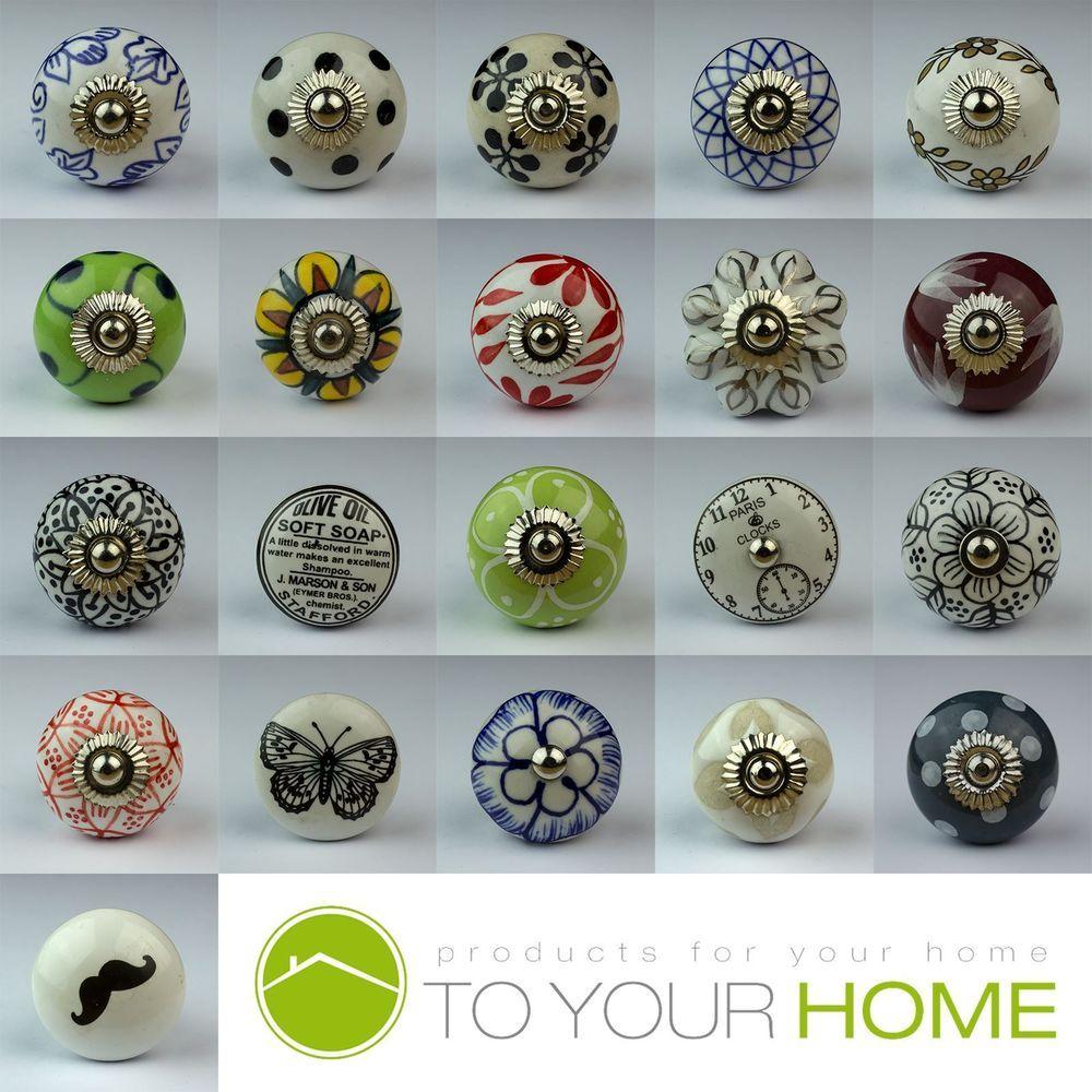 Shabby Chic Ceramic Vintage Clock Drawer Door Cupboard Knobs Handles Furniture