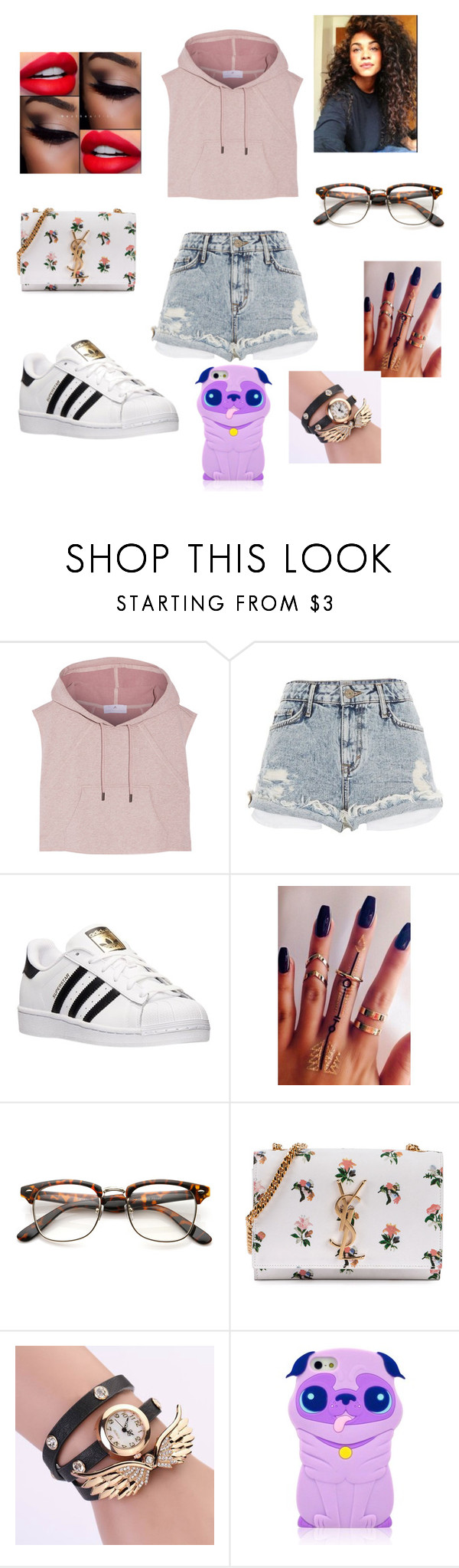 """#Why do good girls always get their hearts broken ?"" by madypooh on Polyvore featuring adidas, River Island and Yves Saint Laurent"