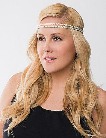 A sleek way to keep your hair looking polished and pretty, our trendy headwrap features two rows of braided metallic threads for a bit of sparkle. Elastic back. lanebryant.com