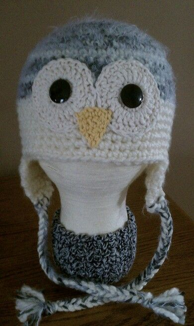 Fuzzy grey & cream owl. 3-10 yrs. $20