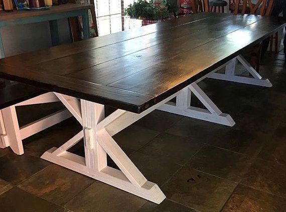 Farmhouse Table With Trestle Base 11 Foot Long Farmhouse Table