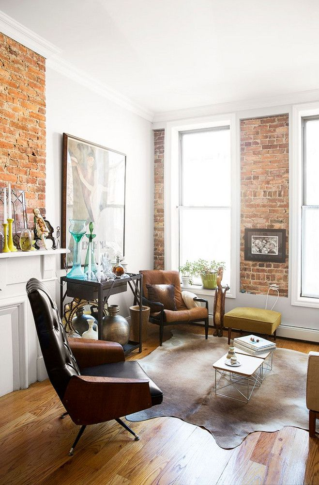 1 stylist, 2 spaces inspired moments in brooklyn Spaces, Living - Kuhfell Teppich Wohnzimmer