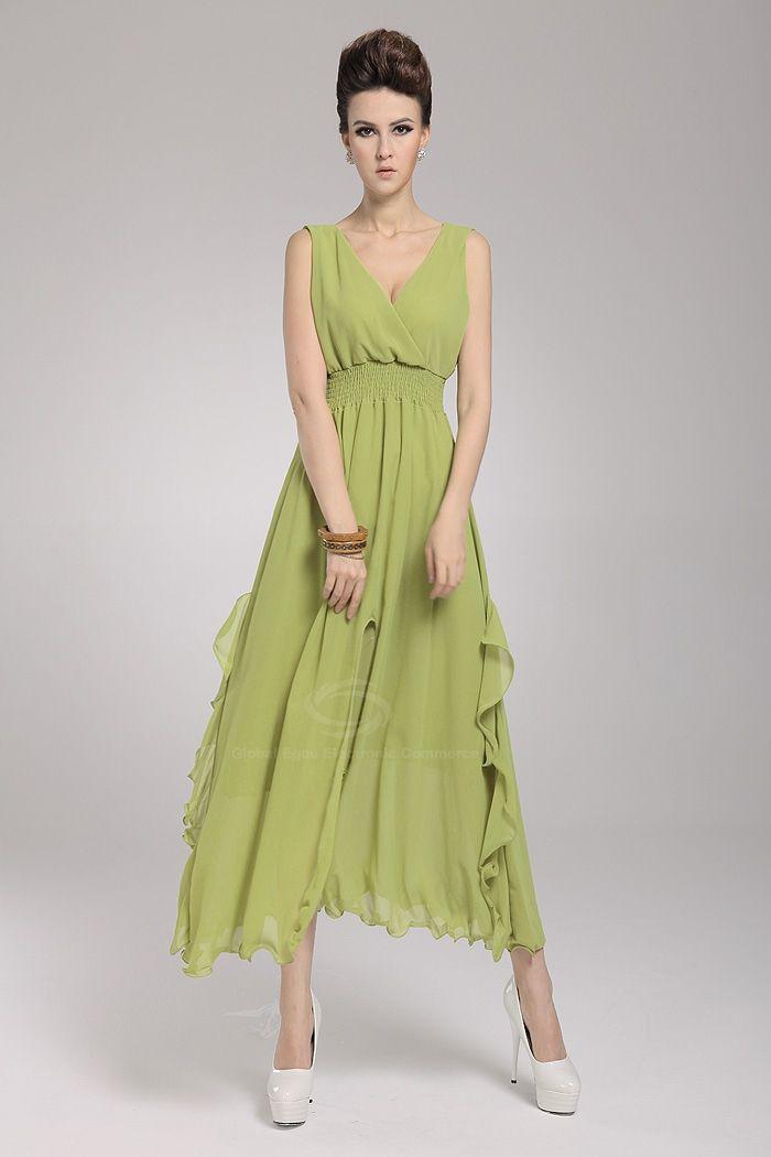 Wholesale Charming Low-Cut Sleeveless Chiffon Long Dresses For Women  (WHITE ffc6522df