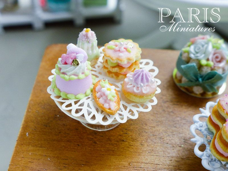 Beautiful Pink Miniature French Pastries by ParisMiniatures