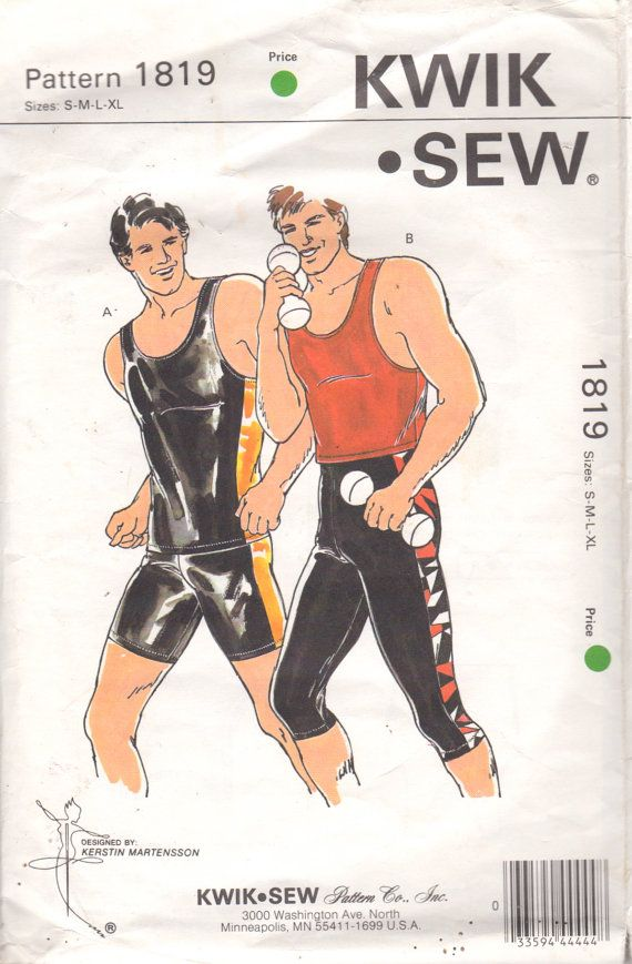 Kwik Sew 1819 Designer Mens Work Out Wear Pull on Spandex Tights ...