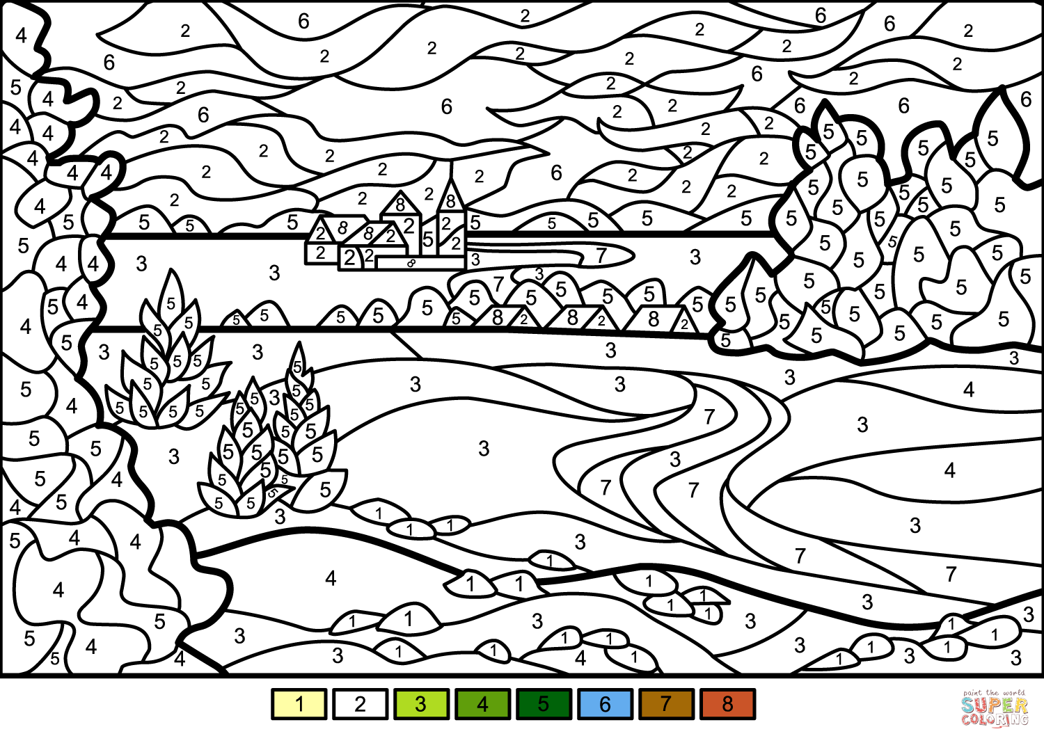 Summer Landscape Color By Number