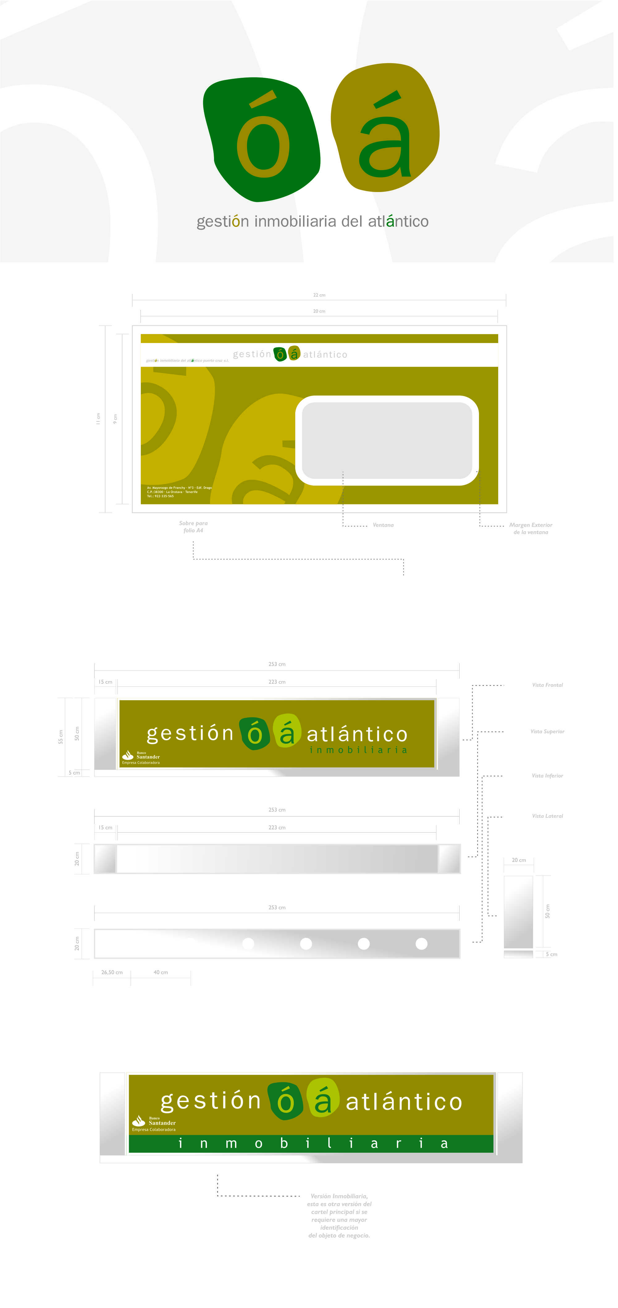 Aplicación a sobre tipo americano, cartel principal y cartel Asociado Santander.
