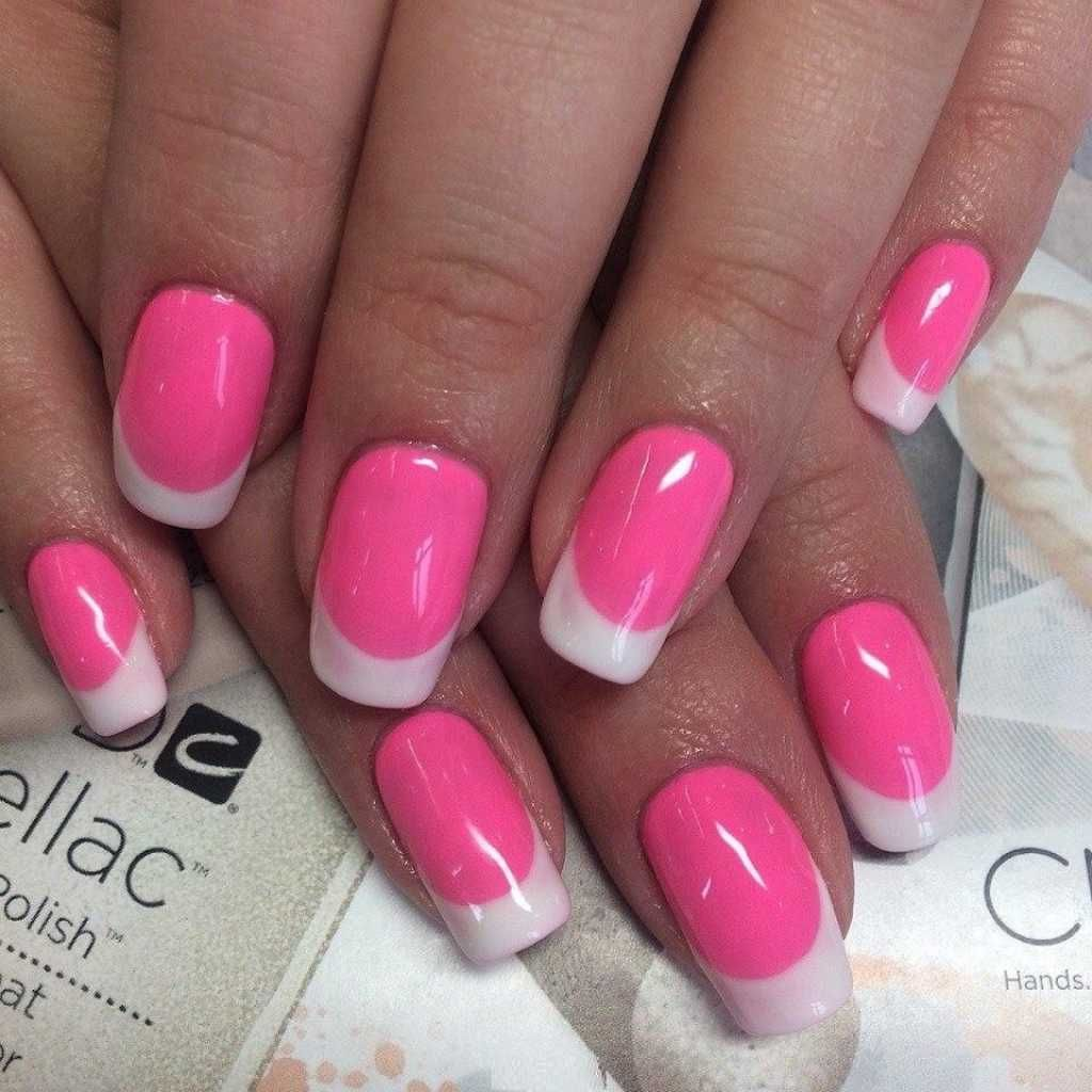 Pink French Nail Art With White Tips One1lady