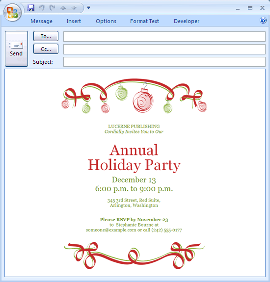 E Mail Message Holiday Party Invitation Ornaments Design