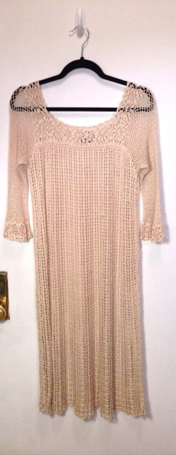 Vintage 1970s crochet dress 70s sheer day casual lightweight summer beach oatmeal light beige fishnet bell sleeves boho retro hippie M L