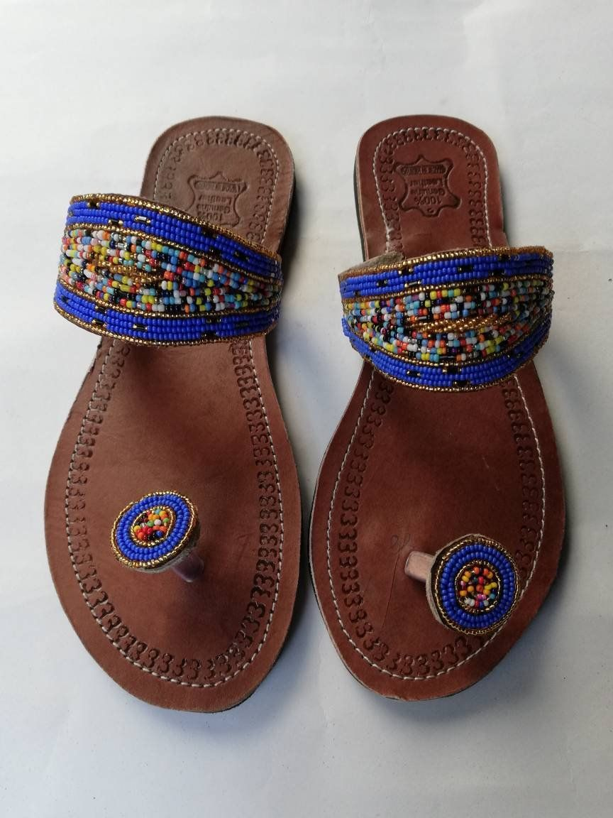 1e32fc173d82 African Beaded leather Sandals