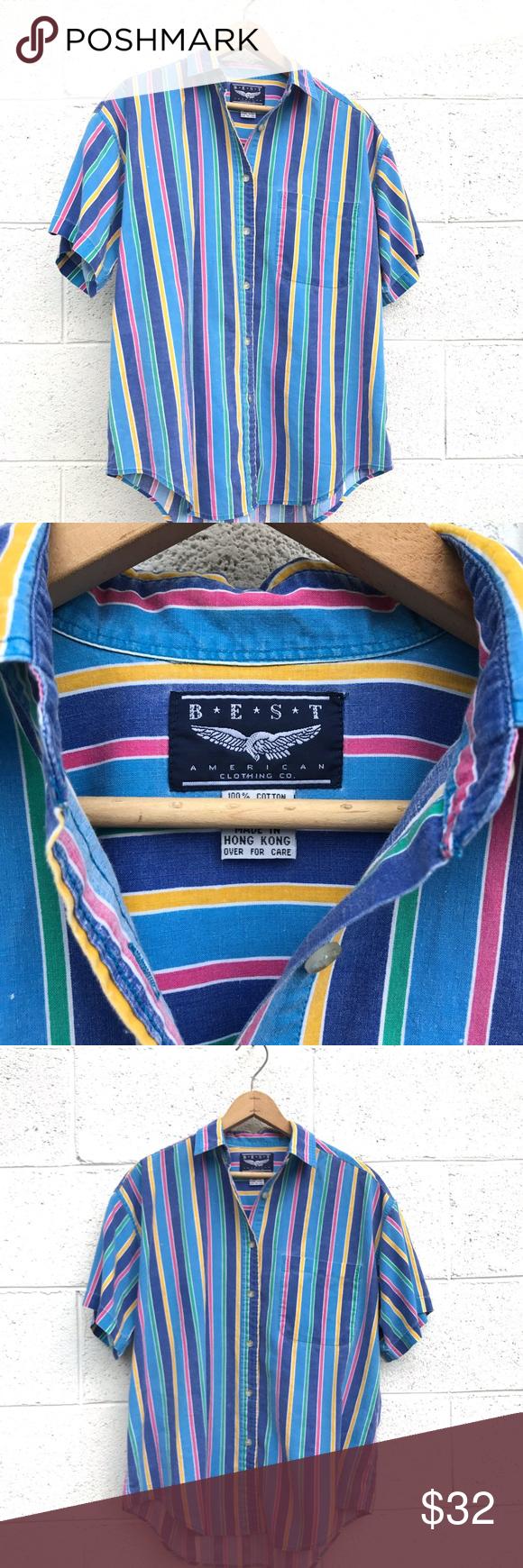 Vintage 90s Striped Button Down Shirt Vintage Shirts Clothes Design Shirts