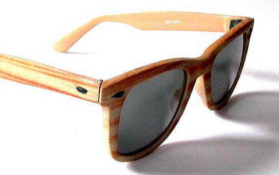 80s Wayfarer Sunglasses, Opti-Ray Wood Frame Shades, 1980s Tan ...