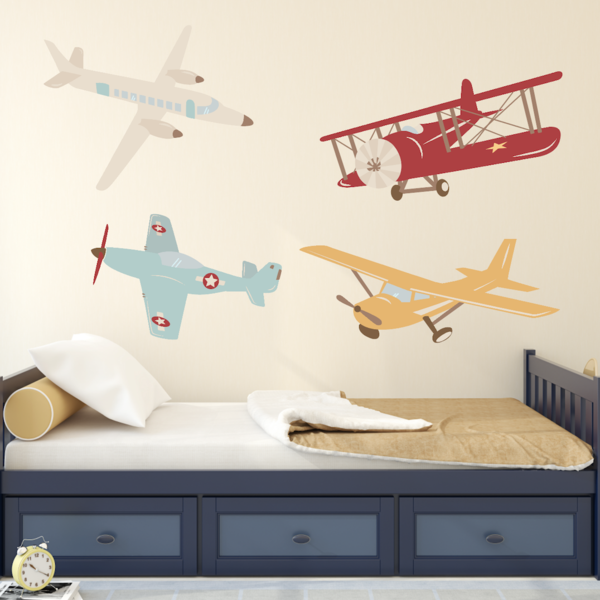 Attractive Airplane Wall Decal: Plane Wall Decal   Airplane Vinyl Wall Decor OLD  SCHOOL AIRPLANES From