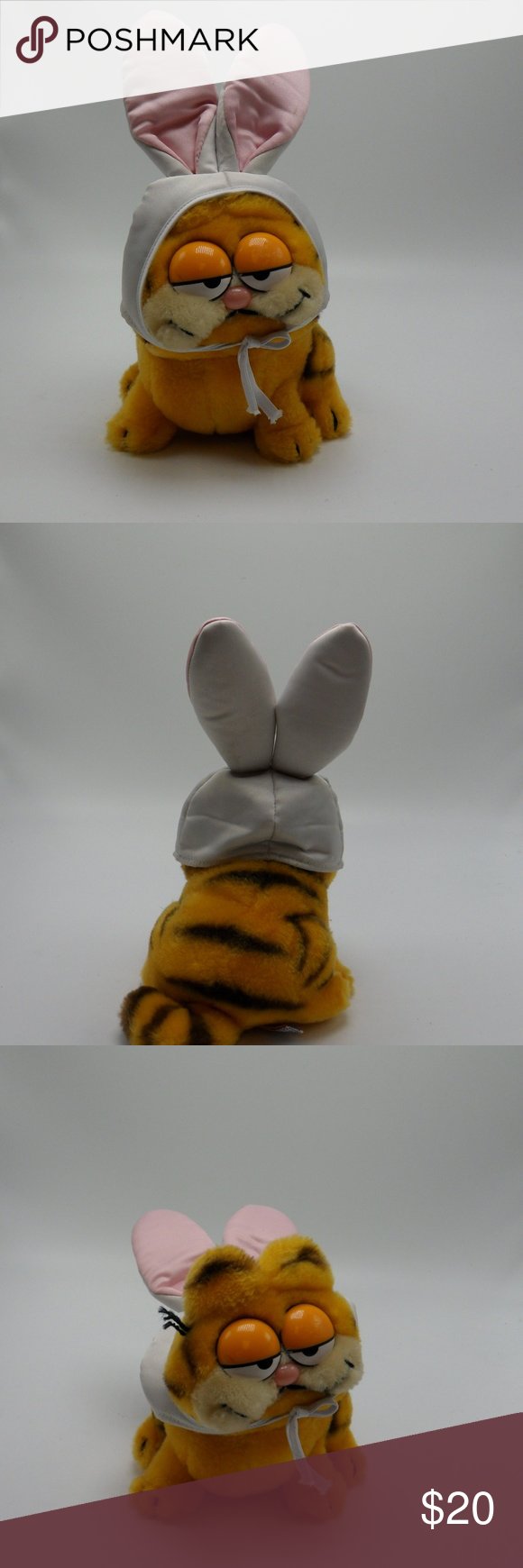 Genuine Vintage 1981 Garfield Easter Bunny Plush Genuine Vintage 1981 Garfield Easter Bunny Plush Dakin Toy Cat In great shape for its age.  It was well cared for.  With the bunny ears down it stands 6 1/2 inches tall, and 11 inches tall when ears are up! Very cute  Have a couple others you can bundle and purchase together for better shipping!!! Other #bunnyplush Genuine Vintage 1981 Garfield Easter Bunny Plush Genuine Vintage 1981 Garfield Easter Bunny Plush Dakin Toy Cat In great shape for its #bunnyplush