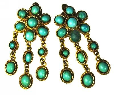 Ancient Persian 22kt Gold flower shaped chandelier earrings with turquoise beads.