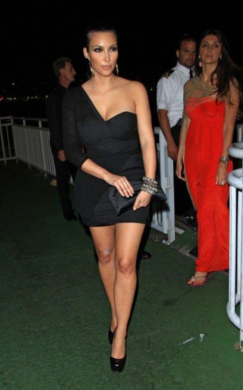 ff12d5a057acdc Kim Kardashian wearing Yves Saint Laurent Tribute Double Platform Pumps,  Risto Bimbiloski One-Shoulder Dress, Loren Jewels Jennifer Bracelet, Loren  Jewels ...