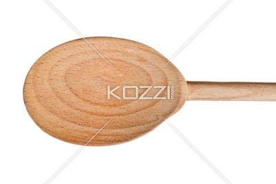 cropped image of wooden spoon. - Close-up cropped shot of wooden spoon against white background.