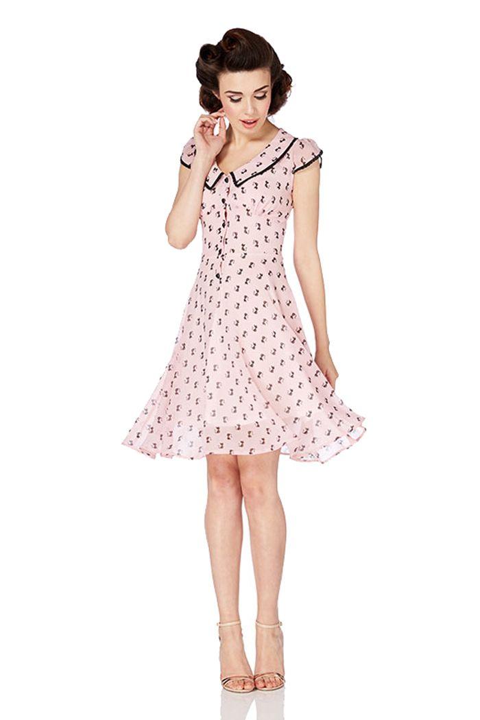 82bf853323e4f Voodoo Vixen PHOEBE 40s Vintage KITTY Chiffon Dress KLEID | A-Linie Kleider  | Kleider