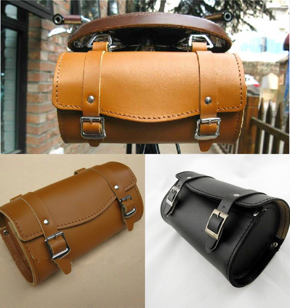 Pure Leather Comfortable Soft Vintage Bicycle Saddle Tool Bag Tail Bag Kit Cj324 In Bicycle Bags Pan Leather Saddle Bags Bicycle Saddles Vintage Bicycles