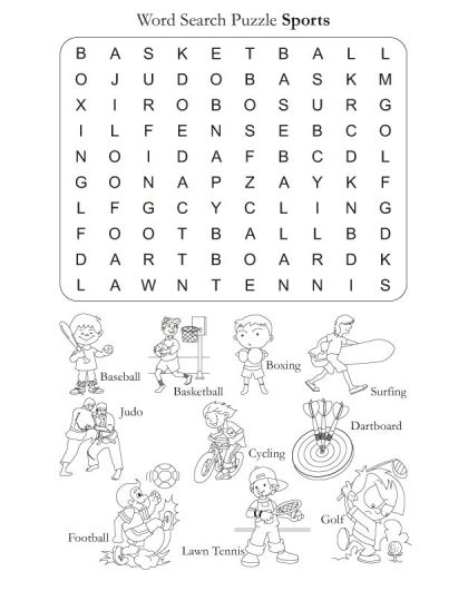 Word Search Puzzle Sports | Download Free Word Search Puzzle Sports For  Kids | Best Coloring