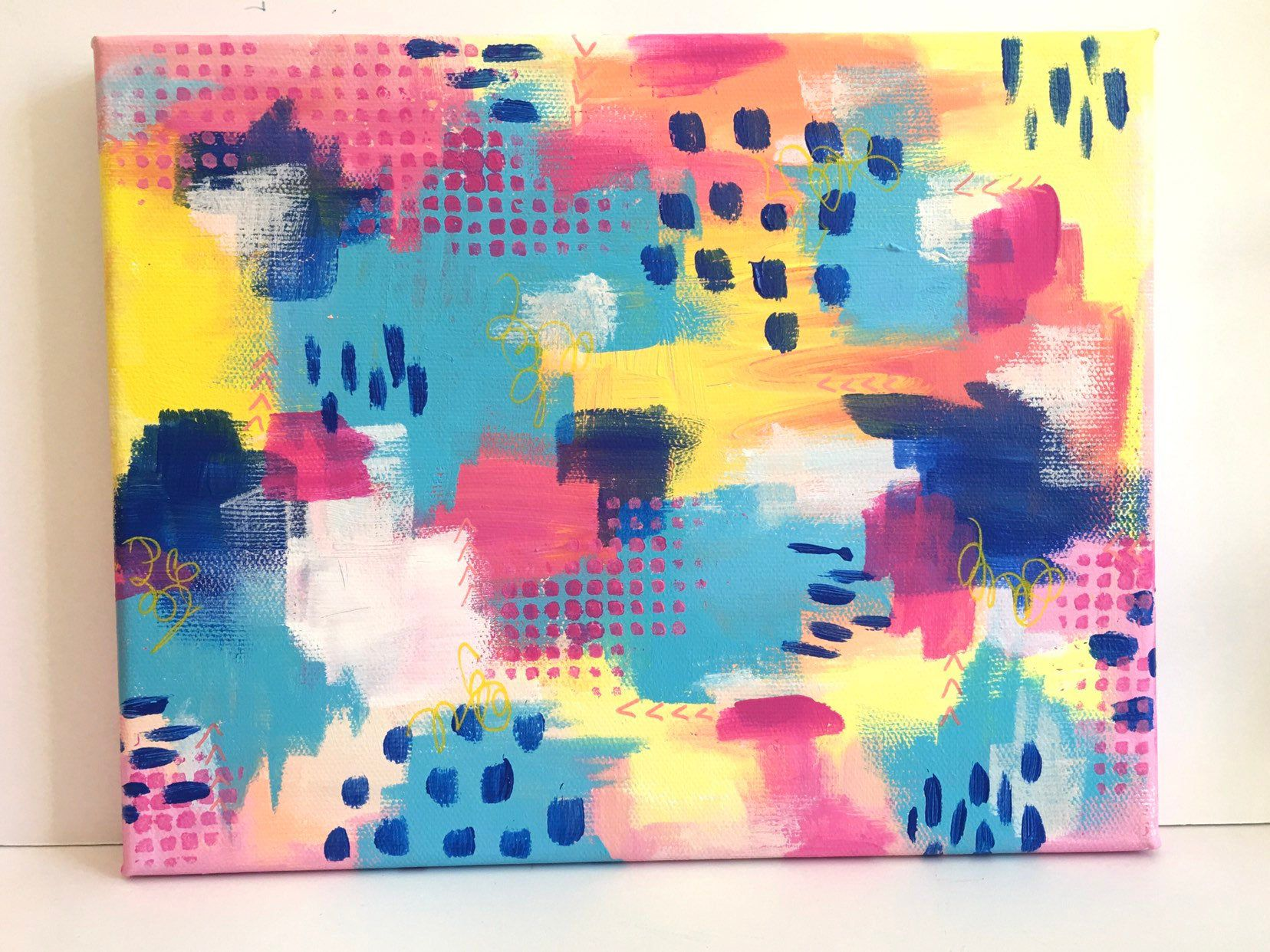 Bright Cheerful Artwork Abstract Acrylic Painting On Canvas Etsy In 2020 Cheerful Artwork Colorful Abstract Painting Abstract Painting Acrylic