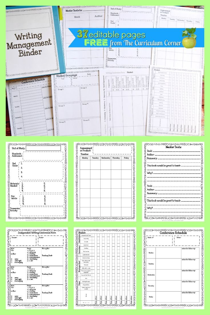 FREE Editable Writing Workshop Management Binder - Includes Writing Workshop Conference Forms via @TheCCorner