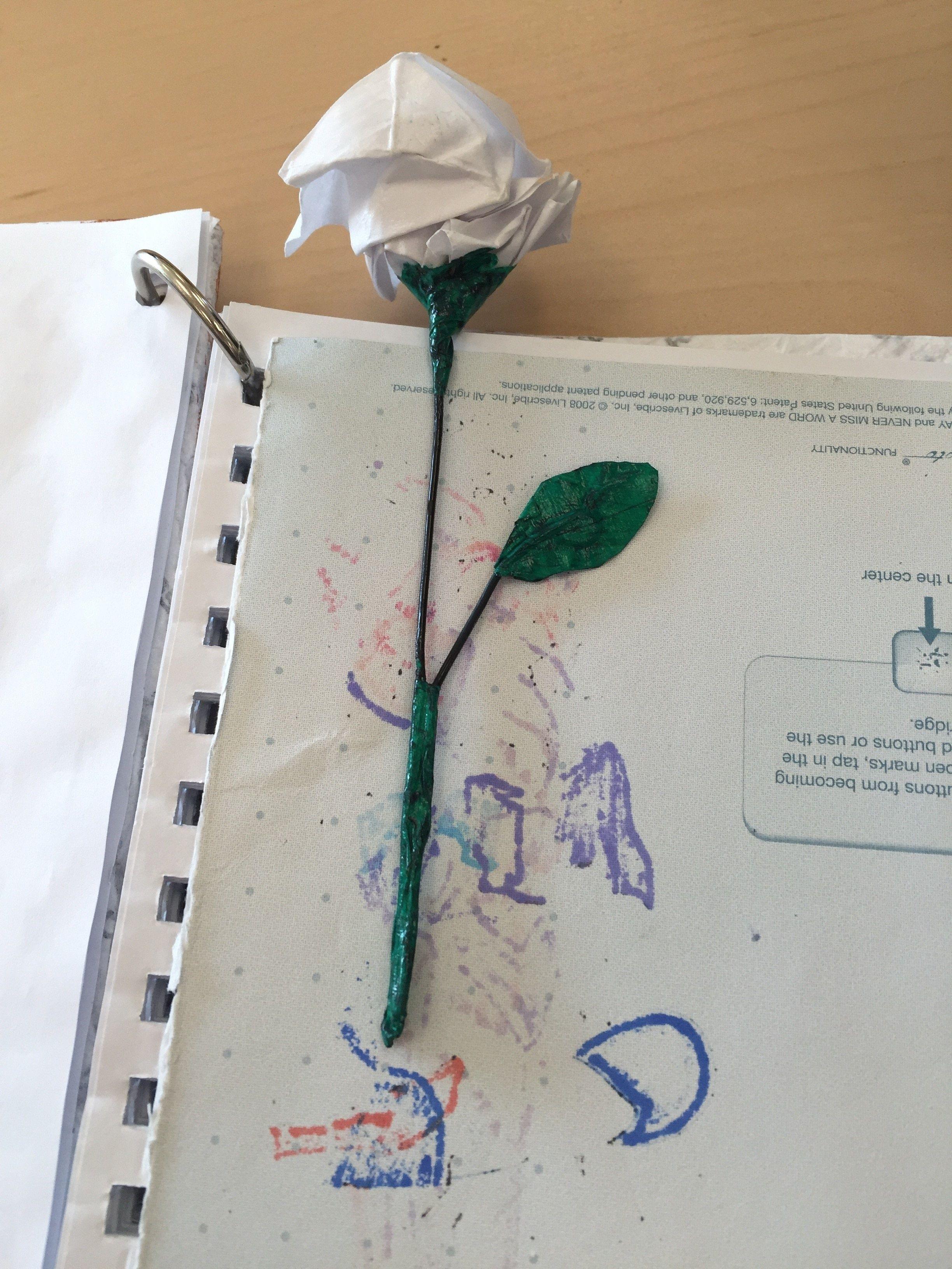 Photo of Origami Rose Bookmark