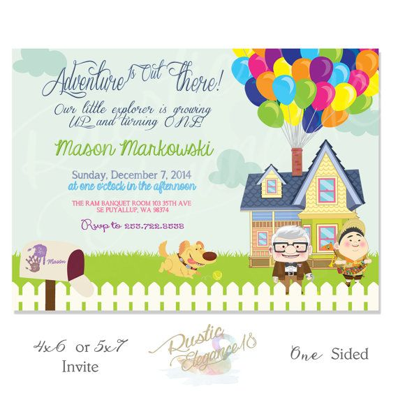 UP House Birthday Invitation Inspired By Disney Pixar Movie