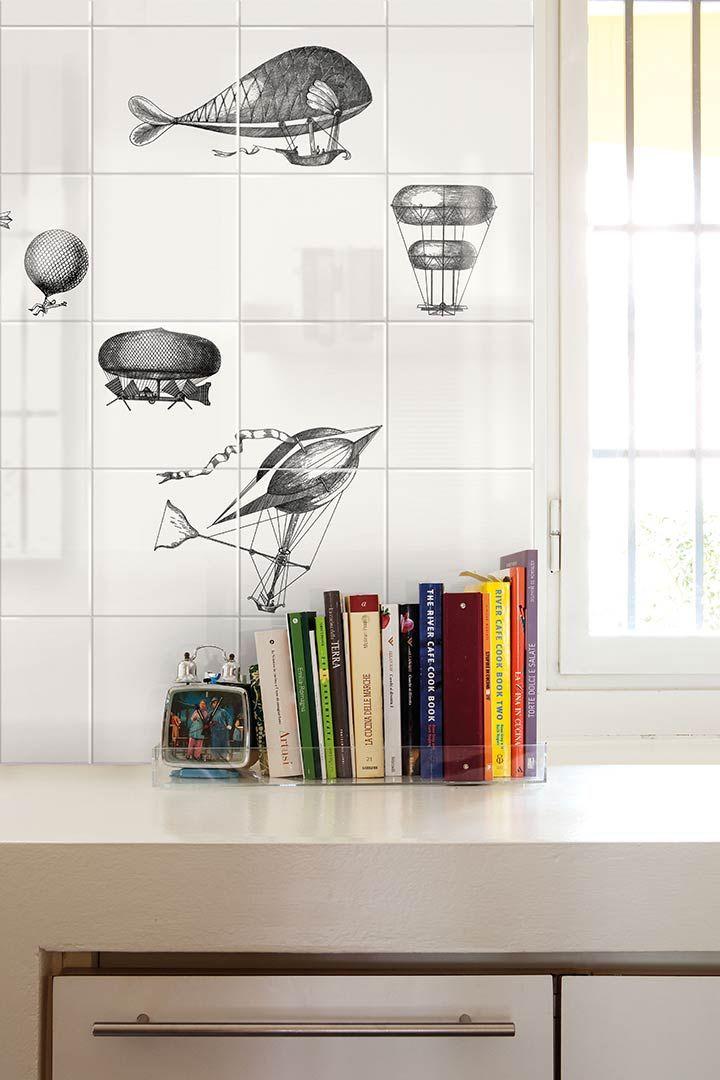 Ceramica bardelli collezione macchine volanti 2 design di piero fornasetti pavimenti e - Piastrelle fornasetti ebay ...