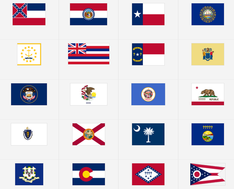 The US State Flags Map Quiz Game Seterra Map Quizzes - Southeast us map quiz